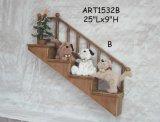 Decoração Home do gato & do cão do Natal em Fence-2asst. de madeira