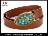 PU Leather Alloy Buckle Crystal Rhinestone Women Belt