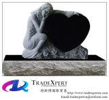 Headstone nero di angelo del granito con cuore