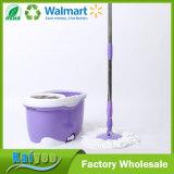 Fregona mágica del suelo de la limpieza de la vuelta púrpura del polvo con el compartimiento