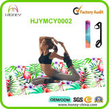 Estera superior de la yoga del caucho natural y del flamenco de Microfiber