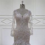 Robe de mariage arrière fine perlante en cristal de broderie de sirène de Champagne