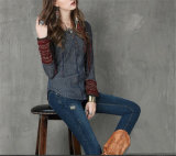 Donne Sweater Made di Mixed Line Fashion Long Sleeve