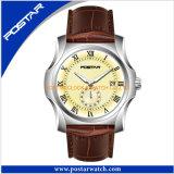 Het hoogste het Springen van de Verkoper Horloge van het Kwarts van de Datum met de Echte Band van het Leer