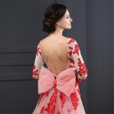 O-Neck 1/2 Sleeve Appliques Backless Evening Dress (SL2014)