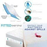熱い販売のシーツファブリックアレルギーの防水スカートのStrechesのマットレスの保護装置を自由に発注するために作りなさい