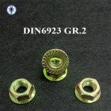Cinc del amarillo de la tuerca del borde de DIN6923 Grade2 plateado