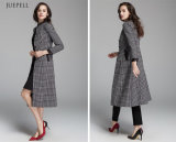 Fashion europeu DOT Print Women Long Coat para Winter