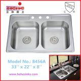 Double bassin de cuisine d'une seule pièce d'acier inoxydable de la cuvette 50/50, bassin de lavage