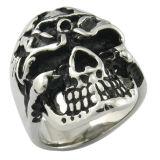 Fregona Negro Anillo de joyería de imitación de joyería de acero inoxidable