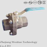 robinet à tournant sphérique à passage réduit d'acier du carbone de boulon de vis 2PC
