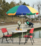 Lichtgewicht Outdoor Furniture 3ft Plastic Folding Round Beer Table (slagvorm, HDPE, staal, paraplu)