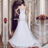 Pleated Beads Lace Real Photos Mermaid Wedding Dresses (TM-MS017)