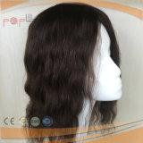 PU Dege полного цвета черноты человеческих волос основания шнурка поли под Hairpiece Toupee суфлирования