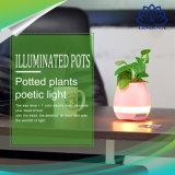 Piano colorido do jogo do diodo emissor de luz do Flowerpot esperto creativo dos altofalantes no altofalante indutivo de Bluetooth dos potenciômetros de flor da música da planta real