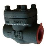 API602 forjó la válvula de verificación de acero del pistón del NPT del extremo de cuerda de rosca A105