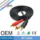 Sipu 3.5mm Stereo-installatie aan 2RCA het Mannetje van AV aan Mannelijke Kabel
