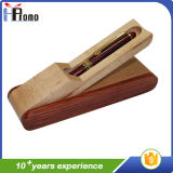 Rectángulo de madera de la pluma con 1 pluma para la promoción