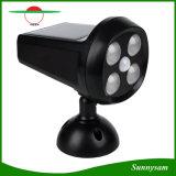 屋外の照明は4つのLEDsの太陽エネルギーの人間の動きセンサーの庭ランプの太陽スポットライトのパスライトを防水する