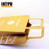Bolsa de papel de encargo reutilizable de calidad superior al por mayor de Kraft de la impresión de la insignia
