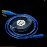 Cabo claro liso retrátil móvel do diodo emissor de luz da sincronização do cabo trançado magnético do relâmpago para o iPhone 7 6/Samsung