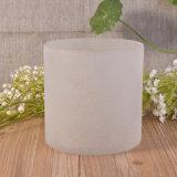 Tarro de cristal derecho emparedado helado blanco pulido con chorro de arena de la vela del huracán del efecto