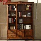 ガラスドア(GSP18-009)が付いているヨーロッパ式の狭い木製の本だなの本箱