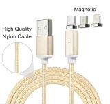3 em 1 cabo cobrando magnético trançado do USB da sincronização do nylon para o nexo de HTC