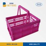 Panier en plastique de vente chaud d'achats colorés avec le traitement