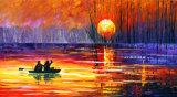 町の景色のキャンバスの印刷の景色の油絵を渡る2017年の川