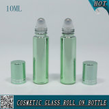 10ml Green Aluminum Cosmetic Glass Roll on Bottle