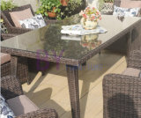 屋外のバルコニーの別荘の中庭の余暇のPEの藤の表および椅子はセットした
