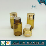 3 ml-kleine bernsteinfarbige wesentliches Öl-Glasflasche mit Reduzierstück-Stecker und Aluminium-Schutzkappe