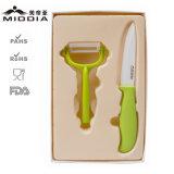 cortador de queso determinado del cuchillo de cerámica de la fruta 2PCS en el empaquetado de Colorbox