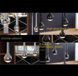 Multihead 현대 검정 또는 크롬 금속 LED 유성우 물 하락 펜던트 빛