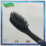 Escova de dentes de carvão de bambu para adultos com raspador de língua
