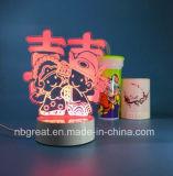 Luz asombrosa colorida de la noche del vector LED de la ilusión óptica 3D con deseos
