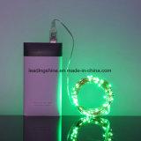 100 luzes feericamente do diodo emissor de luz do fio de cobre Corda do Glimmer Arame Prata LEDs verdes