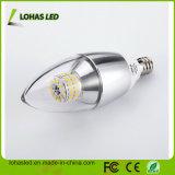 Luz del bulbo E12 6W 7W 3000k LED de la vela de la UL LED