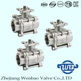 robinet à tournant sphérique 3PC fileté par femelle avec le support de fixation ISO5211