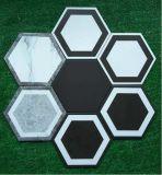 Azulejo de suelo de cerámica de 200*230m m White&Black Athroom del hexágono seises del polígono sano de las esquinas