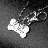 """Jogo da colar da amizade dos """"melhores amigos"""" do osso de cão e da jóia da combinação do Keyring"""