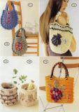 Barril de lujo del almacenaje del ganchillo de la mano; Hand Crochet Handbag. de señora de lujo