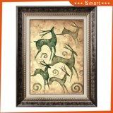 Картина искусствоа оленей Sika с картиной маслом холстины рамки