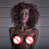 silicium plat 2017 de poupée de sexe de fille d'Africain noir de cheveu ondulé de sein de 155cm