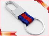 Trousseau de clés en cuir de cadeau d'hommes de trousseau de clés de logo en métal
