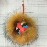 De Bal Keychain van het Bont van de wasbeer/Bont Pompom Keychain/het Bont Keychain van het Monster