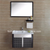 Vanità nera elegante della stanza da bagno dell'acciaio inossidabile con il gancio