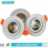Der LED-weiße Aluminiumkarosserie Dimmable unten heller PFEILER vertiefte Lampen-7W