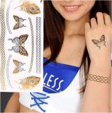 Etiqueta engomada temporal impermeable metálica del tatuaje del encadenamiento de la pluma de la mariposa
